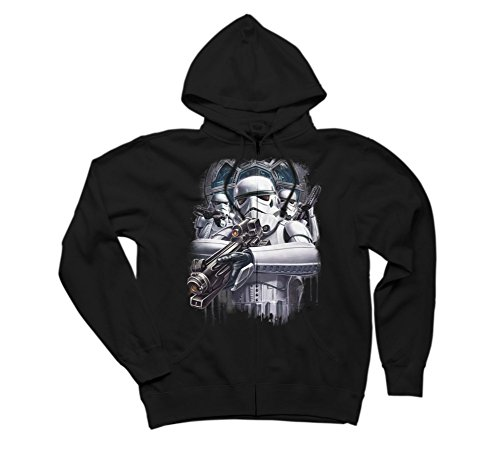 Star Wars Stormtrooper Blast Them Men's Medium Black Graphic Zip Hoodie - Design By Humans