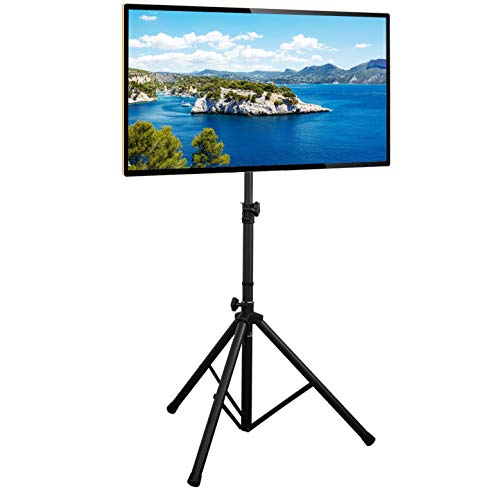 Rfiver Universal Swivel Floor TV Stand with Tripod Base for Most 37-70 Inch Flat Screen/Curved TVs up to 100 Lbs, Portable Studio TV Display Stand Height Adjustable, Max Vesa 600x400mm, Black DS2001