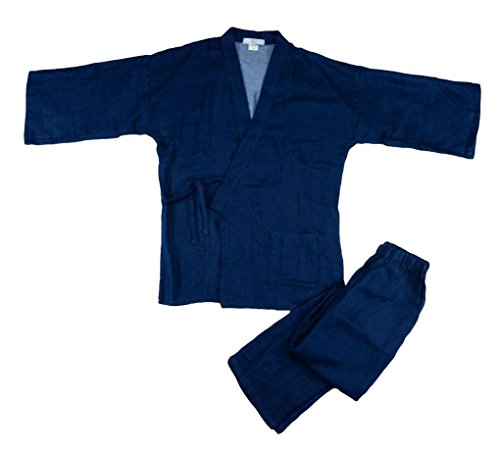 POJ Japanese Traditional Clothes (Samue) [ M / L Size for Men ] Kimono Style Top and Bottom (M)
