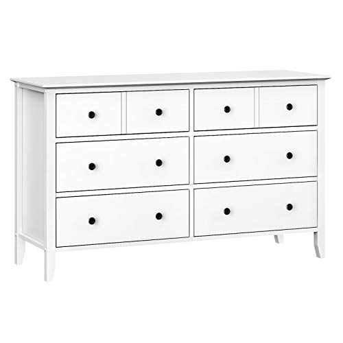 VASAGLE 6-Drawer Dresser, Chest of Drawers with Solid Wood Frame, Storage Unit for The Bedroom, Living Room,with Antique-Style Handles, Easy Installation, White URCD02WT (Drawer Room Unit Living)