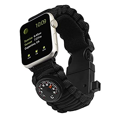 for Apple Watch Band, iwatch Strap Survival Watch with Paracord/Whistle/Fire Starter/Scraper/Compass and Thermometer, 6 in 1 for Apple Watch Series All Models 42mm