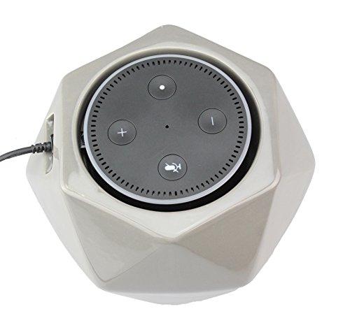 Skywin Stand for Amazon Echo Dot - Amazon Echo Dot Vase - Beautiful Hand Crafted Ceramic Statue to Guard Alexa Echo Dot (grey)