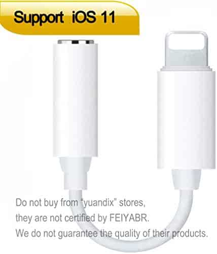 Lightning to 3.5mm Headphone Jack Adapter for iPhone X/8/8 Plus/7/7 Plus iPhone6S/6/iPod/iPad. Aux Converter Earphone Jack Adapter Accessories Support iOS 10.3/11 and Later.
