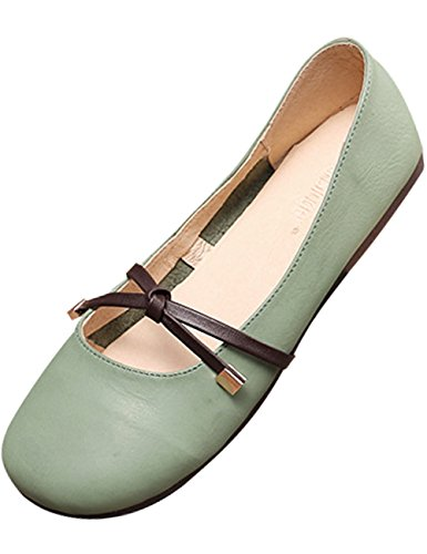 Schuhe Flache Lässige Youlee Leder Sommer Frühling Grün Damen Ballerinas 1xnqBgzw