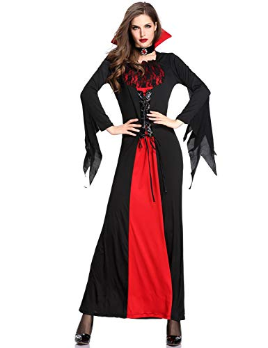 NonEcho Halloween Deluxe Vampires Costume Medieval Queen Evil Zombie Bride Dress Outfit Red -
