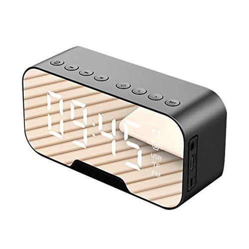 Adanse Draagbare led-spiegel digitale luidspreker wekker MP3 FM-radio