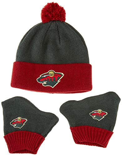 OTS NHL Minnesota Wild Pow Knit Cap & Mittens Set, Dark Green, Infant - Minnesota Wild Set
