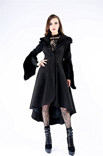 Fourrure Fausse Manches Darkinlove Manteau Évasées Noir Avec Col À Et Capuche Gothique OzqX8