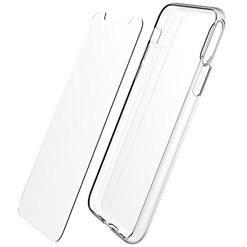 iPhone X/XS Luvvitt Clarity Case and Tempered Glass Screen Protector Set for Apple iPhone X and XS with 5.8 inch Screen 2017-2018 - Clear Bundle
