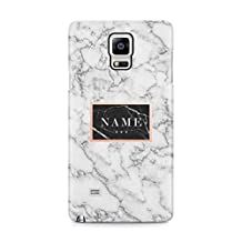 Custom Name White Marble Protective Hard Plastic Case Cover For Samsung Galaxy Note 4