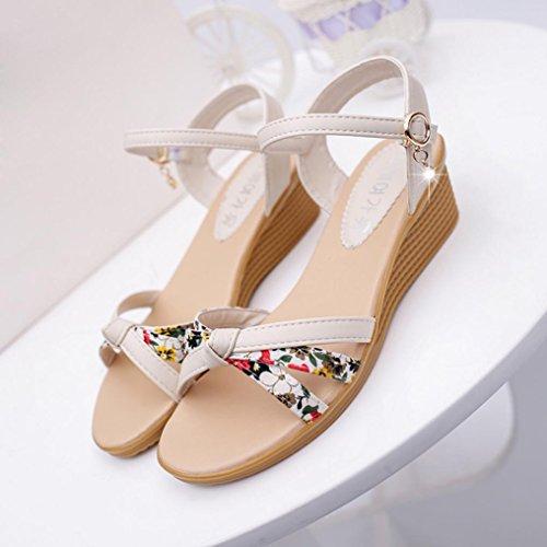 Jamicy Women Girls Fashion Summer Roman Flowers Printing Peep-toe Low Sandals Shoes Flip Flops Flats Shoes White MhcIk
