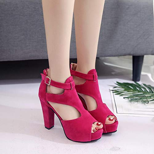 Fuerte Mujeres Boca Zapatos Color Riou Casuales Sandalias Gruesas Solos 35 Calado Sólido Con 39 Rosa qrqfw6ZU