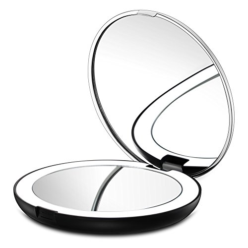 Magnification Purse Mirror (Gotofine LED Lighted Travel Makeup Mirror, 1X & 7X Magnification - Double Sided, Luxury, Portable, Compact, Illuminated Folding Travel Mirror)