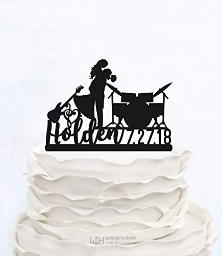 Wedding Toppers Cake Musical - Liz66Ward Drum Cake Topper Personalized Surname and Date,Music Wedding Cake Topper_Personalized with Musical Instrument Guitar and Drums