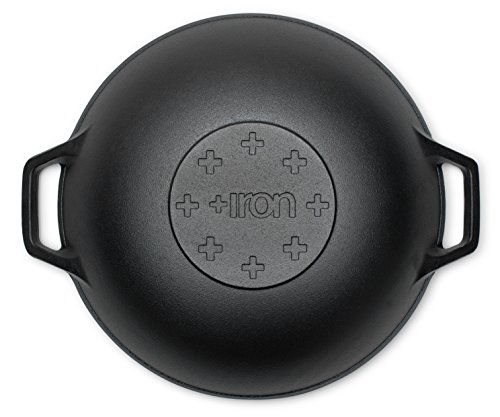 +Iron Seasoned Wok Cast Iron 14 inch with Handles and flat bottom by +Steel (Image #5)