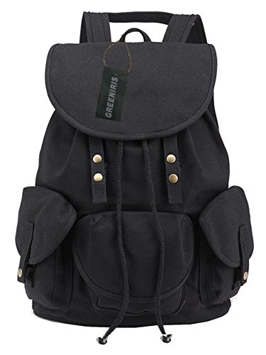 Greeniris Women Causal Daypack Vintage Drawstring Backpack for Teenage Girls Black