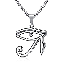 Lee Island Fashion Cz Eye Of Horus Egypt Protection Pendant Stainless Steel Necklace 24 Inch Chain Jewelry