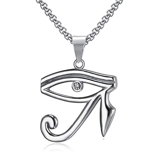 Lee Island Fashion CZ Eye of Horus Egypt Protection Pendant Stainless Steel Necklace, 24 Inch Chain Jewelry]()