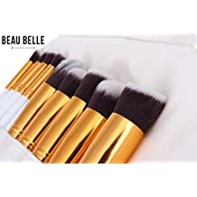 Beau Belle Makeup Brushes - 10pcs Kabuki Brush Set - Makeup Brush Set + Makeup Brush Case - Kabuki Brush Set - Professional Makeup Brushes