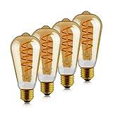 Latest Dimmable Led Edison Bulb, 6.5W Spiral Flexible LED Filament Bulbs, Vintage Antique ST64(ST21) LED Light Bulbs, 25W Incandescent Equivalent, 2000K(Amber Glass) Soft White, E26 Base, Pack of 4