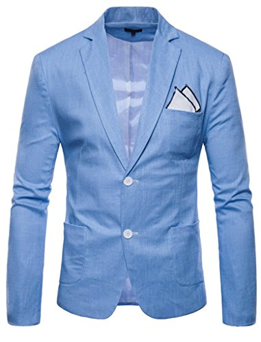 FEHAAN Mens Lightweight Slim Fit Suit Two-Button Casual Linen Coats Jacket Light Blue