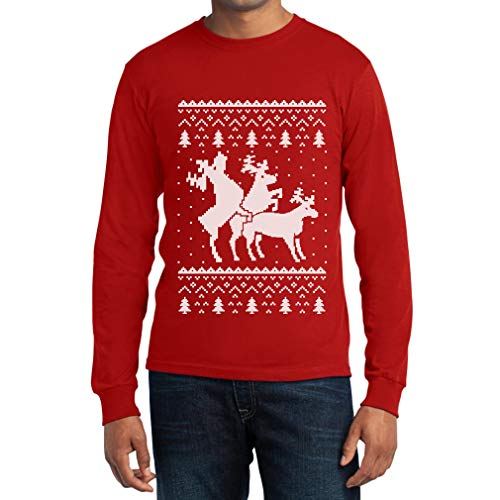 Montano Maglia Sweater Manica Si Uomo Che Lunga Christmas Shirtgeil Renne Ugly Rosso 7Uw1xqZ