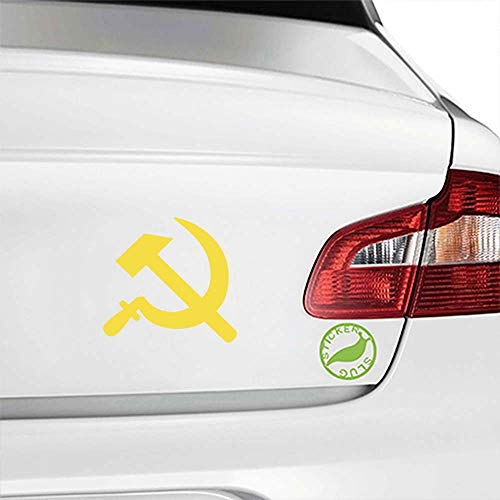 (Communist Hammer and Sickle Decal Sticker (Yellow, 5 inch) for rv Boat auto Glass b11706)