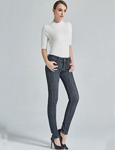 6 Slim Mia Da Donna In Fit Camii Schwarz Foderati 827 Jeans Pile PABwIqPp1