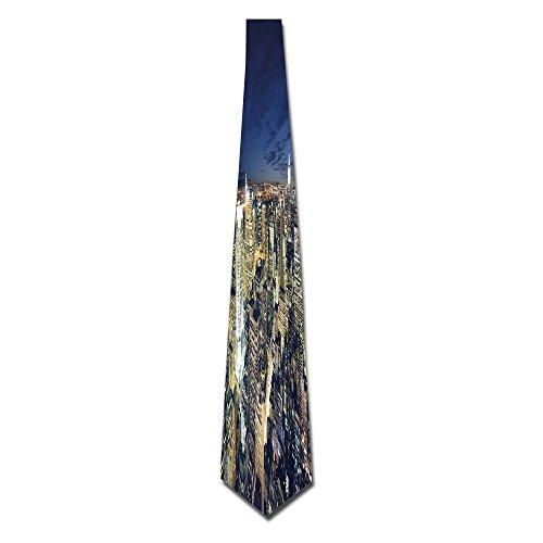 WuLion Modern Cityscape After Sunset Manhattan New York USA Architectural Men's Classic Silk Wide Tie Necktie (8 CM) (Architectural Usa)
