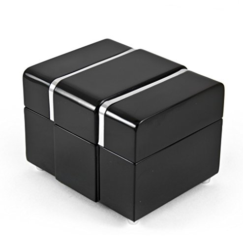 Price comparison product image Modern 30 Note Black Lacquer Musical Jewerly Box with Chrome Accents - Godfather (Speak Softly Love)