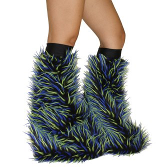 Psy Shoes Costume (Monster Psychedelic Black Neon Green Blue Rave Furry Legwarmers Fluffies)