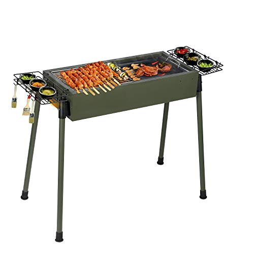 Uten Barbecue Charcoal Grill Stainless Steel, Portable BBQ Grill for Outdoor Cooking Camping Picnics - Green [Upgraded] (Barbeque Grill Charcoal)