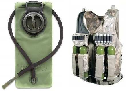Camo Ultimate Tactical Vest - Ultimate Arms Gear ACU Army Digital Camo Tactical Scenario Stealth Black Paintball Airsoft Battle Gear Tank-Armor Pod Vest w/ Heacy Duty Belt + OD Olive Drab Green 2.5 Liter / 84 oz. Replacement Hydration Backpack Water Bladder Reservoir - Includes Hosing And Hands Free Bite Valve