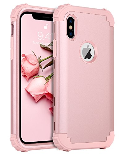 BENTOBEN Compatible with Phone Case iPhone Xs/iPhone X, Full Body Heavy Duty Shockproof Drop Protection 3 in 1 Hybrid Hard PC Anti-Slip Soft Rubber Bumper Protective Cover for Girls Women, Rose Gold