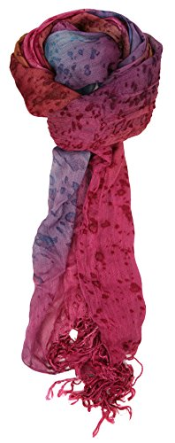 Label Purple Silk Scarf - Love Lakeside-Women's Watercolor Crinkle Scarf (One, Magenta Purple)