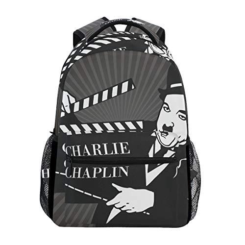 Charlie Chaplin Poster Clapboard School Backpack Large Capacity Canvas Rucksack Satchel Casual Travel Daypack for Adult Teen Women Men -