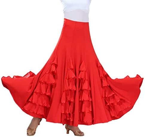 Tookang Flamenco Sevillanas Falda de Baile Moderno Vals Falda de ...