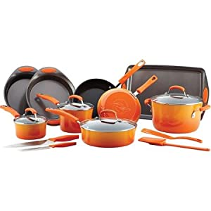 17-Piece(Orange) Durable Cookware and Bakeware Set Oven-safe & Shatter-Resistant Glass Lids made with Long-lasting Nonstick Interiors