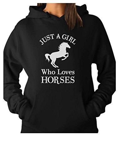 Tstars - A Girl Who Loves Horses Horse Lover Gift Women Hoodie Small Black by Tstars (Image #1)