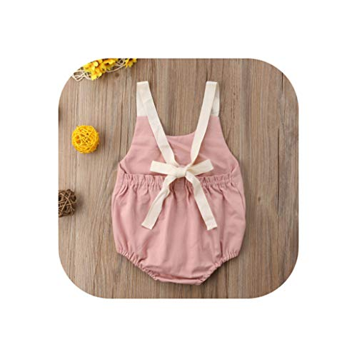 KKK-3boss 0-24M Newborn Kid Baby Girl Clothes Summer Bowknot Backless Romper Casual Plain Outfits Infantil Clothing Costume,Pink,Newborn -