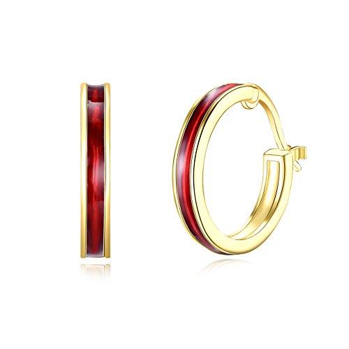 14K Gold Plated Red Enamel Small Round Hoop Earrings For Womens Girls Sensitive Ears Hypoallergenic