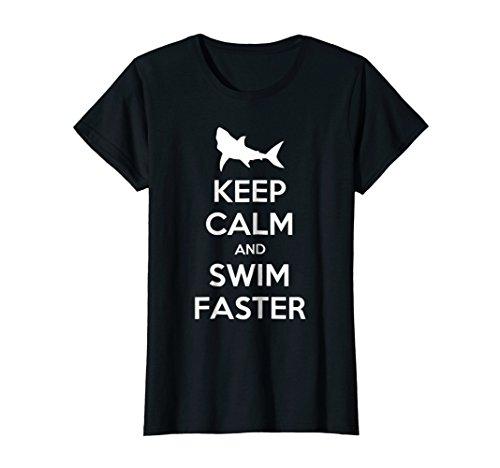 (Womens Keep Calm And Swim Faster Funny Swimming T-Shirt Medium Black)