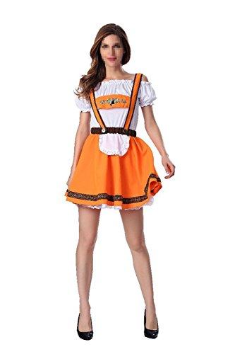 Uleade Halloween Men and Women Adult Couple German Beer Festival Carnival Cosplay Fancy Costume Orange Beer (Carnival Group Costume Ideas)