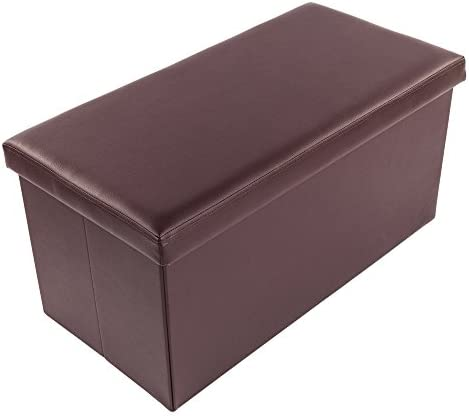 "Lovinland 30"" Storage Ottoman Bench Folding Foot Rest Stools Padded Seat Storage Chest"