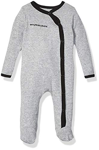 Calvin Klein Baby Bodysuit Unisex One-Piece, Multipack, Heather Grey, 6-9 Months