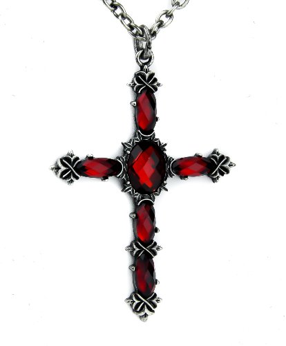 Red Stone Vampire Cross Necklace Dark Jewelry Gothic Deathrock Anime Cosplay Red Gothic Cross