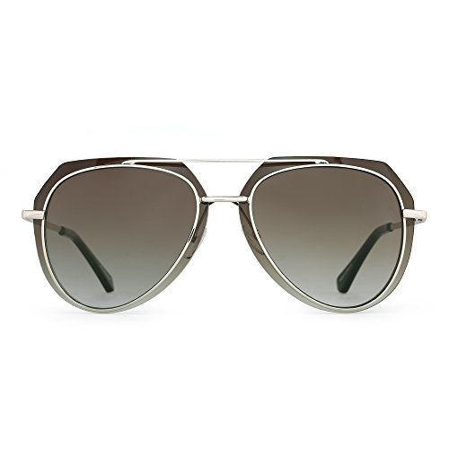 Double Gradient Gold Mirror (Designer Aviator Sunglasses Double Frame Mirror Metal Eyeglasses Men Women (Gold / Gradient Brown))