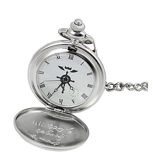 MorningGo Full Metal Alchemist Edward Elric Pocket Watch Cross Snake Necklace and Ring