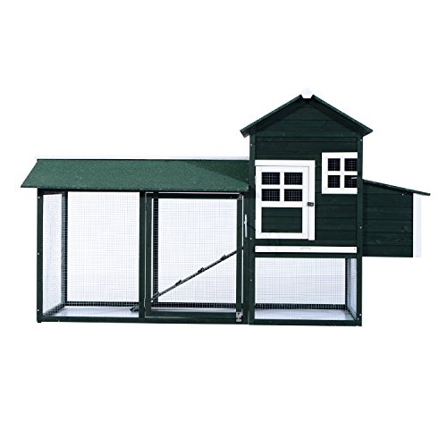 Pawhut Wooden Backyard Poultry Hen House Chicken Coop - Green by PawHut (Image #1)