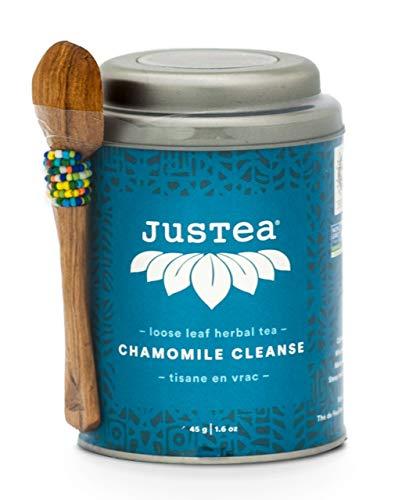 JusTea CHAMOMILE Cleanse | Loose Leaf Herbal Tea with Hand Carved Tea Spoon | Over 40 cups 1.6 Ounce Tin | No Caffeine | Award-Winning | Organic | Fair Trade | Non-GMO ()